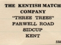 Kentish Match Co. sticky back label, from base of boxes
