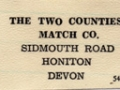 Two Counties Match Co. sticky back label, from base of boxes